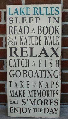 Lake Rules Vintage Style Typography Word Art Sign @ etsy getting-crafty-diy
