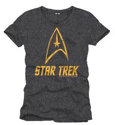 Camiseta Star Trek. Logo dorado