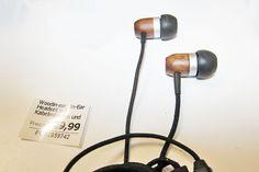 WOODIN-EAR, In-Ear Headset mit Kabelmikrofon und Funktionstaste, Walnuß