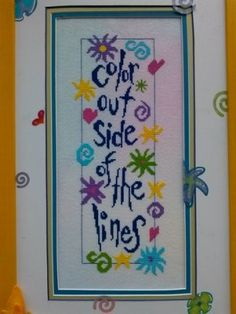 Outside The Lines is the title of this colorful cross stitch pattern from…