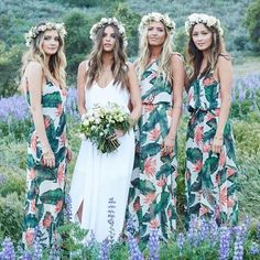 Patterned bridesmaid dresses with tropical prints + flower crowns strike a totally laid-back, bohemian note.