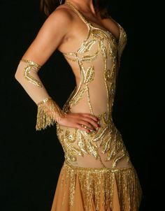 Gold Vine Filagree Belly Dance Nude Naked Costume Dress
