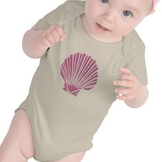 Pink Seashell baby creeper.  Ocean themed, and you can add text to personalize it.  #cute