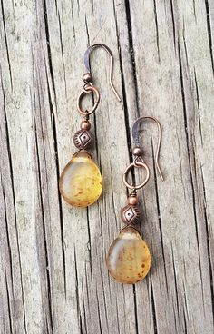 Yellow+Amber+Glass+and+Copper+Dangle+Earrings+by+Lammergeier,+$20.00