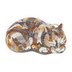 Iconic Judith Leiber Sleeping Cat Jeweled Crystal Minaudière Clutch Bag
