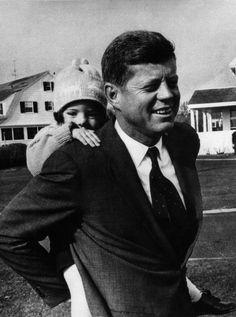John and Caroline Kennedy at Hyannis Port, November 1960
