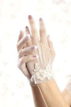 lace gloves - shabby chic wedding -White gloves - bridal gloves with vintage beaded lace. $65.00, via Etsy.