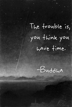 The trouble is, you think you have time. ~ Buddha #time #buddha #quotes