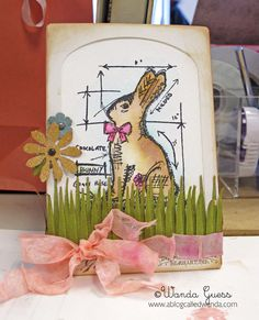 Easter Card made with Tim Holtz Blueprint Stamps. #papercrafting #Cards