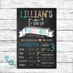 First Day of School Chalkboard Sign - Girls First Day of School Sign - First Day of School printable picture - First Day of Kindergarten Chalkboard Sign - First Day of Preschool Sign - First Day of 1st Grade Sign - First Day of Daycare Sign - First Birthday Chalkboard Sign - Favorites Chalkboard Sign - Custom Chalkboard Signs by Taylor George Designs