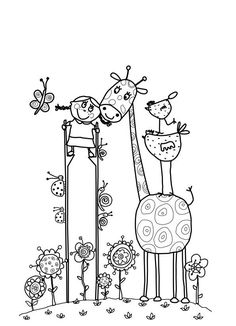 fun animal coloring page Animal Coloring Pages, Colouring Pages, Coloring Sheets, Coloring Books, Free Adult Coloring, Coloring For Kids, Doodle Drawings, Cute Drawings, Ecole Art