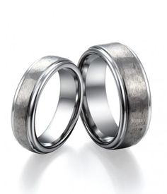 Couple's Polished & Brushed Tungsten Wedding Bands Set with Step Edge Design   Tungsten Carbide Rings 24HOUR SHIPPING