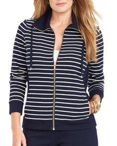 Lauren Ralph Lauren Plus Stripe Knit Jacket