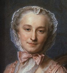Detail from a portrait of Mademoiselle Salle by Maurice Quentin de La Tour