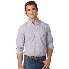 Chaps Sherbrooke Classic-Fit Striped Easy-Care Casual Button-Down Shirt - Men