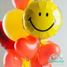 Воздушные шары смайлы и сердечки разных размеров- отличный сюрприз для в второй половинки!