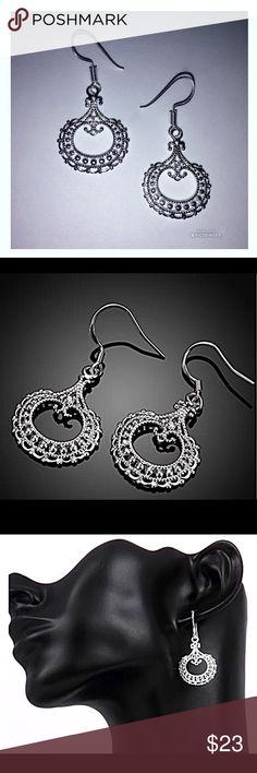 🌹Sterling Silver Lace Earrings NWT Sterling Silver Lace Earrings NWT:  very lightweight, delicate lace design circle earrings. Jewelry Earrings