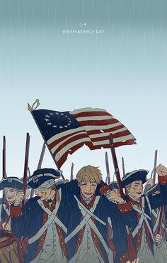 marime73:  INDEPENDENCE DAY!!!! 去年ケーキでお祝いできたけど今年はなにもできなかったからせめて絵だけでも・・。 個人的にはアメリカの独立戦争時代の当時の上司と死別するまで未来の事とか色々想いをはせて語ってたら素敵やなあ・・と思いました・・。 アメリカに行って一緒にお祝いしたい