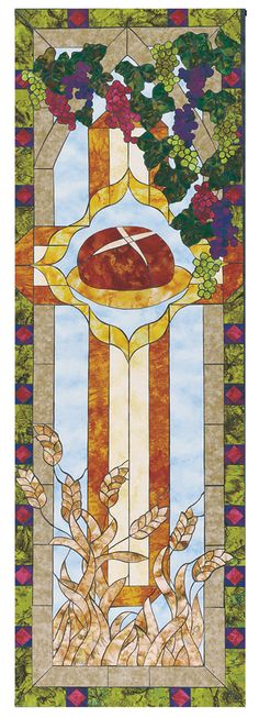 Cokesbury - Stained Glass Communion Parament Set Bread Banner 2'x6'