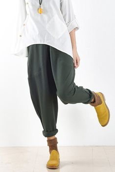 Spring Loose Cotton Casual Ankle Length Pants Women Clothes P2201