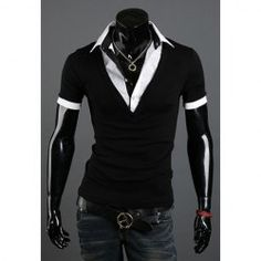 $11.24 Casual Style Polo Collar Faux Twinset Short Sleeves Polyester T-Shirt For Men