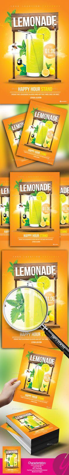 Lemonade Stand Flyer — Photoshop PSD #fruit #lemonade • Download ➝ https://graphicriver.net/item/lemonade-stand-flyer/19977162?ref=pxcr