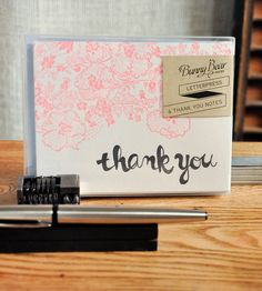 pink and white letterpress thank you cards - an adorable gift idea