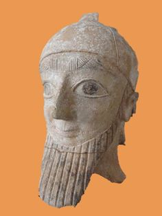 Head of a male statue with conical helmet, 7th century BC - 6th century BC, from Idalion, Ancient Cyprus, Neues Museum, Berlin. (foto: Lngrd)