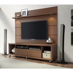 The Cabrini TV Stand and Cabrini Panel combined create a complete Home Theater Entertainment Center! Easily maneuver the Cabrini TV Stand 2.2 into place, with the convenient wheels for hassle-free arr