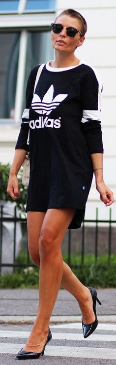 Adidas Black And White Sporty Print Tee Dress