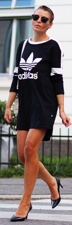 Adidas Black And White Sporty Print Tee Dress #Women