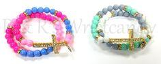 Colorful Beaded Bracelets Cross Bracelets by RandRsWristCandy