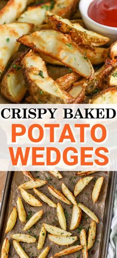 Crispy potato wedges are a homemade recipe that is a perfect side dish to any meal! Made with wedged potatoes tossed in oil. seasoning, and parmesan this oven-baked side is simple and quick to prepare. Potato Sides, Potato Side Dishes, Best Side Dishes, Vegetable Side Dishes, Side Dish Recipes, Potato Recipes, Veggie Recipes, Appetizer Recipes, Cooking Recipes