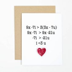 cute I love you card. funny math gift. mathematics equation quilled greeting card for nerds geeks. husband boyfriend birthday anniversary by ofthingspretty #boyfriendbirthdaygifts
