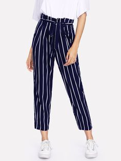 Frill Trim Waist Striped Tapered Pants -SheIn(Sheinside)