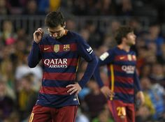 Barcelona's Argentinian forward Lionel Messi stands during the Spanish league football match FC Barcelona vs Valencia CF at the Camp Nou stadium in Barcelona on April 17, 2016.