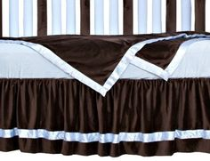 "Go Mama Go Designs Oversized Chocolate Minky with Blue Satin Trim Toddler Blanket, Chocolate/Blue (718122807970) Print ruffle trim Size 36"" x 48"" Chocolate minky Blue satin trim"