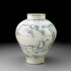 A fine and rare blue and white porcelain jar with figural decoration. Joseon Dynasty, Circa 1800 A rare Joseon Dynasty Korean. Korean Art, Asian Art, Art Pierre, Historical Artifacts, White Porcelain, Cool Art, Arts And Crafts, Blue And White, Pottery
