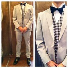新郎衣装,ライトグレーギンガムチェックべストスタイル  #新郎衣装