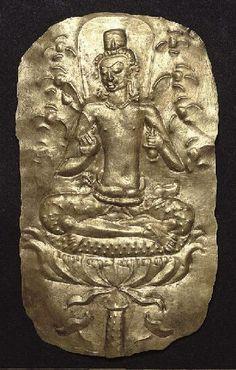 Plaque with Bodhisattva, Mon-Dvaravati period, 600-799, gold reposee.Thailand