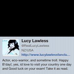 Follow Lucy Lawless on Twitter ;)