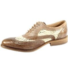 Bronx Gang Tan leather brogues -- with lace detail.