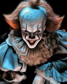 No hay descripción de la foto disponible. Clown Horror, Creepy Clown, Arte Horror, Horror Art, Horror Villains, Horror Movie Characters, Horror Movies, Desenhos Halloween, Marilyn Monroe Artwork