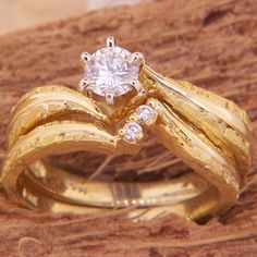 Women's Custom Alaskan Gold Nugget and Diamond Wedding Ring. Style#: GRST10271Y - Gold Nugget Jewelry by Alaskan Gold Rush Fine Jewelry - Fairbanks, Alaska - 907-456-4991 - Call for price and availability.