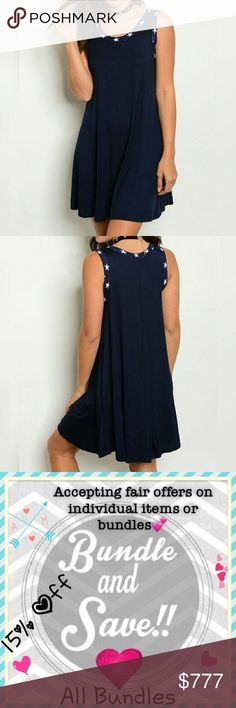 Coming Soon❣️Independence Day Dress Adorable Navy dress featuring loose tunic cut, scoop neck, star trim. 94% rayon, 6% spandex. Made in the USA.  Price will be $40. Dresses