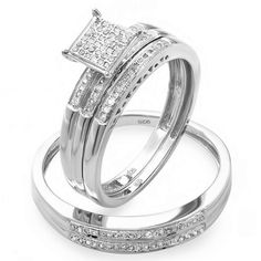 $159    0.30 Carat (ctw) Sterling Silver Round White Diamond Men & Womens Micro Pave Engagement Ring Trio Bridal Set: Jewelry
