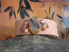 Leather Cuff Jasper gemstone flanked by 2 by OneOfOneJewelryDzyns