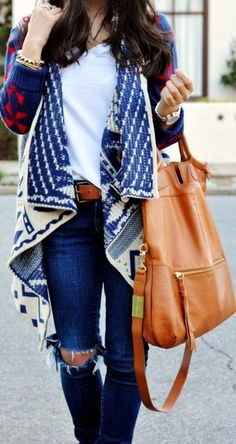 #fall #fashion / ripped denim + pattern print cardigan