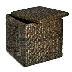 "Seville Classics PAT70160 Rush Cube Storage Ottoman, Mocha by Seville Classics. $47.11. Lift-off Lid. Material: Hand-Woven Rush. Casual style in mocha finish. Tailored around a solid wood frame, 200 lbs. seat capacity. Dimensions: 18"" x 18"" x 18"". From the Manufacturer                With this hand-woven rush storage cube/ottoman you can store stuff inside it easily and effortlessly. The interior is lined with a mocha colored (100% cotton) liner. This cube's style is sur..."