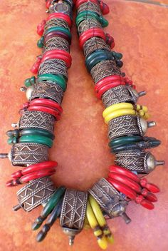 Old Berber Colorful Harratine Necklace with Old Rings, South Morocco